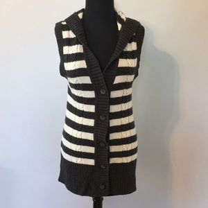 Old Navy Striped Sleeveless Hooded Knit Cardigan